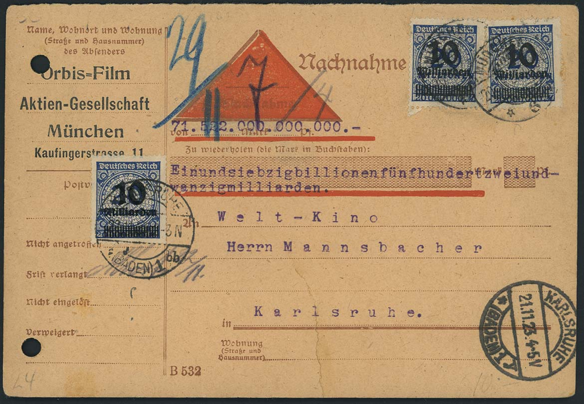 Lot 4312 - Deutsches Reich_Inflation  -  Auktionshaus Ulrich Felzmann GmbH & Co. KG Auction 170 International Autumn Auction 2020 Day 4