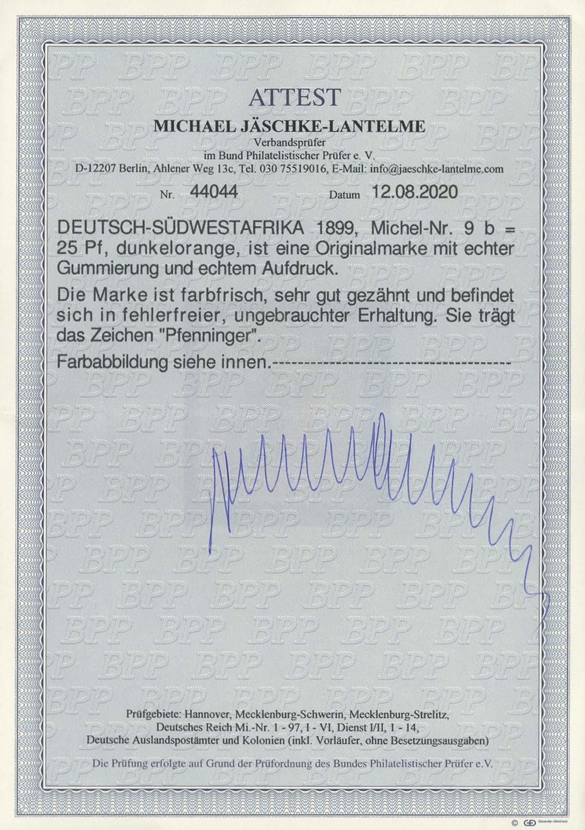 Lot 4481 - Auslandspostämter & Kolonien_Deutsch-Südwestafrika_Markenausgaben  -  Auktionshaus Ulrich Felzmann GmbH & Co. KG Auction 170 International Autumn Auction 2020 Day 4