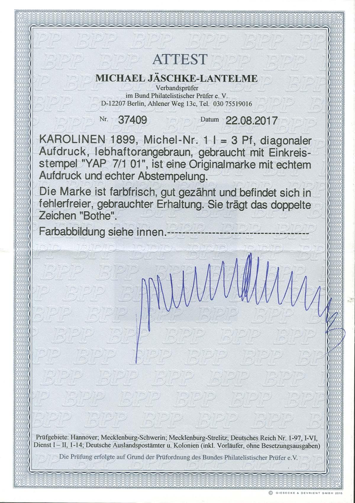 Lot 4492 - Auslandspostämter & Kolonien_Karolinen_Markenausgaben  -  Auktionshaus Ulrich Felzmann GmbH & Co. KG Auction 170 International Autumn Auction 2020 Day 4